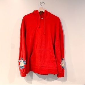 PacSun | Red Floral Embroidered Hoodie XL